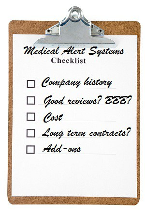Home medical alert system shoppers checklist