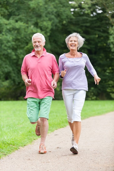 Seniors slow jogging walking for endurance flexibility