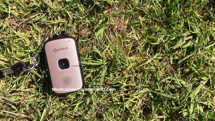 Great Call Splash mobile medical alert device on grass