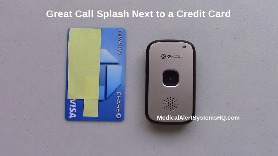 Splash next to a credit card